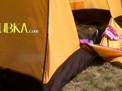 18yo teenager Loly jerking off in a tent
