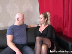 German mature with pierced big tits fucks bald man