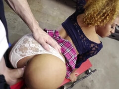 Black chick with curly red hair offers mechanic sex as payment