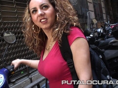 Busty Spanish babe in amateur hardcore action with cumshot in Barcelona