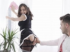 Brunette was maid for cock sucking