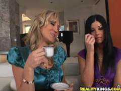 Ahryan Astyn, India Summer and Alana Evans play with the but