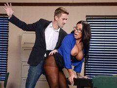 Gorgeous MILF with huge boobs Simone Garza screwed on the table