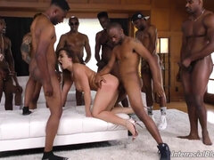 Interracial gangbang orgy with slut taking lots of BBC