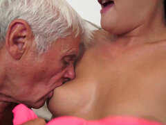 Dolly gives old man's dick some special attention