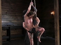 Little Tattoo-ed Pain Floozy Krysta Kaos Tormented in Rope Bond