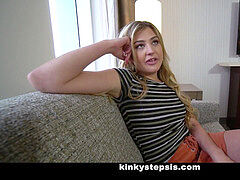 Blonde Stepsister Gets jizz On By draped pervert Stepbrother