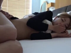 slim petite in bed japanese morning fuck