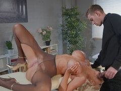 Bombastic blonde gags on a huge dick and gets drilled hardcore