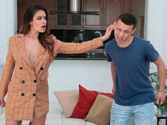 Spicy brunette angel Katana Kombat drilled by a long boner
