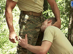 Monster Dicked Military boys deep-throat pipe Outdoors