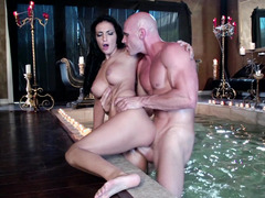Romantic hot tubbing explicit sex with Amber Cox