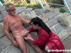 Grandparents and youngsters fuck each other outdoors