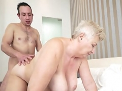 Kinky granny Astrid seduces horny Rob and gets down and dirty him wildly