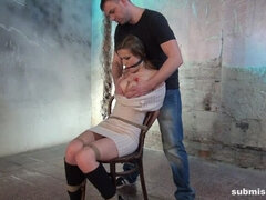 Anouk chair-tied cleavegagged tit-grabbed