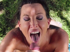 Milf filed with a golf trainer's pole