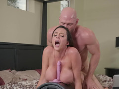 Naughty wife loves her dildo machine and her horny hubby