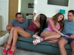 Two babes and two guys are horny