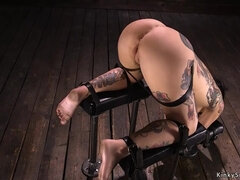 Tattooed bound slave made to cum