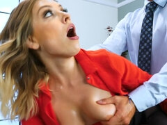 Blonde secretary has a very demanding boss and he loves keeping her busy