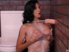 Cutie Is Covered In Jizz From Spraying Dildo