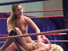 Two well-known gladiatrix Ivana Sugar and Cathy Heaven fight till orgasm