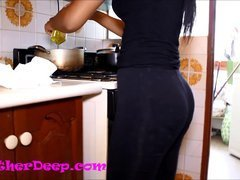 Heather Deep Scared in Kitchen gives deepthroat creamthroat throatpie