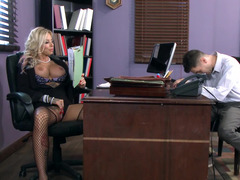 Wacky blonde teacher is ready to satisfy her well endowed student