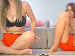 Twin Sisters bust cum In Their shorts