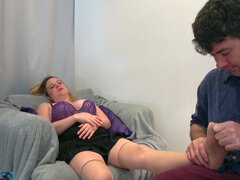 Stepmom relaxes with feet massage and her son's dick