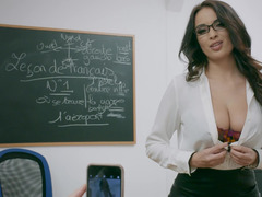 A female with glasses is doing a blow job in the classroom to her lover