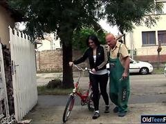Romanian Marsha Cortez gives bj & fucking mature bike repairman