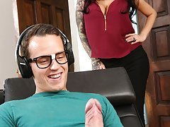 FILF - Stepmom Lily Lane catches son jerking on her pics