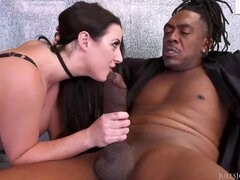 Interracial lovers work hard to get anal orgasms on couch