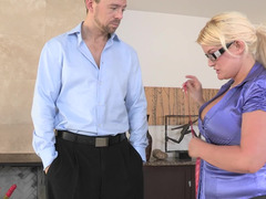 Bitch in leggings and a satin blouse takes a large cock
