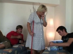 Aged cleaning female in 3-way group orgy