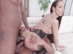 Fake Tits Milf Fucked by BBC and BWC Double Anal - big dick