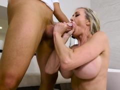 Eager mom fucks her friends son and additionally gets off on his big cock