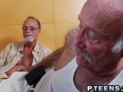 Latina fucked by grandpa while contemplated by old dudes
