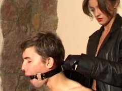Smoking femdom gagging & high boot kicking an ashtray slave