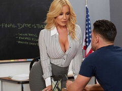 Astonishing golden blonde Savannah Bond is sucking in the classroom
