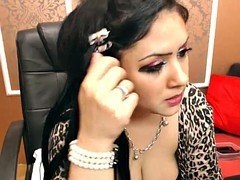 Busty Arab broad in fishnet dances on cam