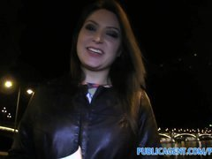 Publicagent Akasha Sex under a public bridge for black haired kitten