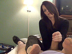 dark haired ultra-cutie footjob