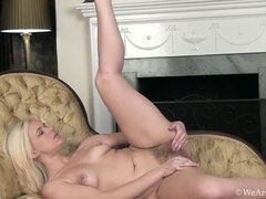 Anna Joy strips and masturbates on a yellow chair