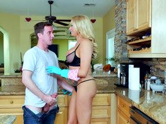 A first-class blonde is milf is giving blowjob off a young and fresh stud in the kitchen