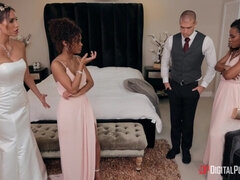 Interracial girls help bride to calm down before wedding