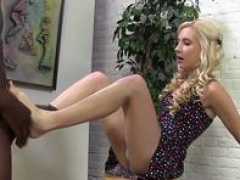 Undersized blonde feet fucked