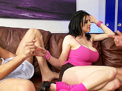 uber-sexy huge-boobed black-haired is on her knees getting her pretty face creamed