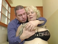Big beautiful women blonde granny has an intercourse in the kitchen